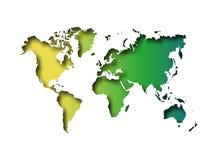 Карта отрезка мира в бумагу при внутренняя тень изолированная на зеленой предпосылке градиента Иллюстрация вектора с влиянием 3D Стоковые Фото