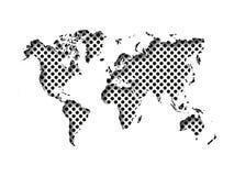Карта отрезка мира в бумагу при внутренняя тень изолированная на поставленной точки предпосылке Иллюстрация вектора с влиянием 3D бесплатная иллюстрация