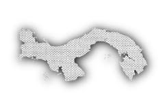 Карта Панамы на старом белье Стоковая Фотография RF