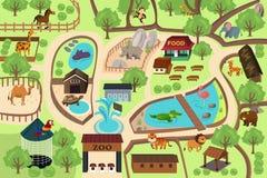 Карта парка зоопарка Стоковые Изображения