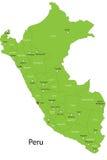 Карта Перу вектора Стоковое Изображение