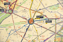 Карта подземки Парижа Стоковое Изображение RF