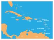 Карта положений Центральной Америки и Вест-Инди политическая Желтая земля с черными ярлыками имен страны на голубой предпосылке м бесплатная иллюстрация