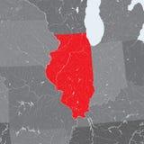 Карта положения Иллинойса с озерами и реками Стоковая Фотография RF