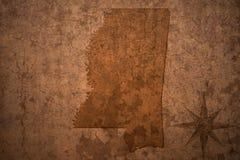 Карта положения Миссиссипи на старой винтажной бумажной предпосылке стоковое фото