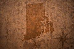 Карта положения Род-Айленда на старой винтажной бумажной предпосылке Стоковая Фотография