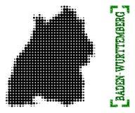 Карта полутонового изображения государства Баден-Wurttemberg и титра Grunge с углами бесплатная иллюстрация