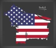 Карта Портленда Орегона с американской иллюстрацией национального флага бесплатная иллюстрация