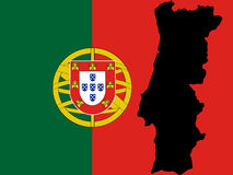 карта Португалия Стоковая Фотография