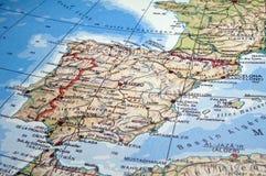 карта Португалия Испания Стоковая Фотография