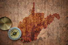 Карта положения Западной Вирджинии на старой винтажной великолепной бумаге Стоковая Фотография RF