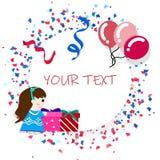 Карта праздника, дизайн торжества партии плоский, воздушные шары, девушка ребенк иллюстрация вектора