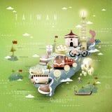 Карта привлекательностей Тайваня иллюстрация штока