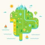 Карта проиллюстрированная остров-курортом Туристская концепция назначения и туризма Стоковое Фото