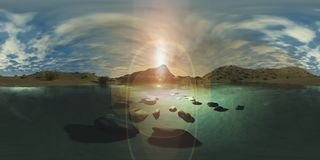 Карта разрешения HDRI высокая Заход солнца над озером горы, светом над горой иллюстрация штока
