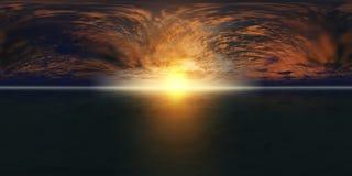 Карта разрешения HDRI высокая Панорама захода солнца моря, взгляд восхода солнца океана, захода солнца на море, тропический заход Стоковые Фото