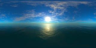 Карта разрешения HDRI высокая солнце в облаках над морем стоковые изображения