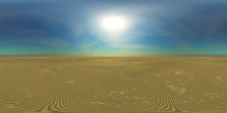 Карта разрешения HDRI высокая, солнце над пустыней иллюстрация вектора