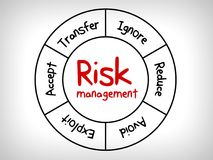Карта разума управление при допущениеи риска - проигнорируйте, примите, избегите, уменьшите, перенесите и эксплуатируйте иллюстрация вектора