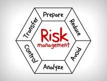 Карта разума управление при допущениеи риска - проигнорируйте, примите, избегите, уменьшите, перенесите и эксплуатируйте бесплатная иллюстрация
