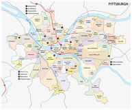 Карта района Питтсбурга Стоковое фото RF