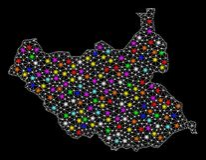 Карта рамки провода сетки южного Судана с красочными светлыми пятнами иллюстрация штока