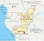 Карта Республики Конго политическая иллюстрация вектора