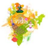 Карта Республики Индия на День независимости Стоковое Изображение