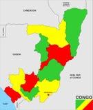 Карта республики Конго Стоковое Изображение