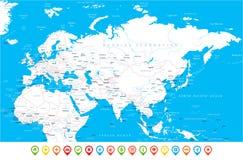 Карта России Китая Индии Индонезии Таиланда Африки Европы Евразии - иллюстрация вектора Стоковые Фото