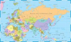 Карта России Китая Индии Индонезии Таиланда Африки Европы Евразии - иллюстрация вектора Стоковая Фотография