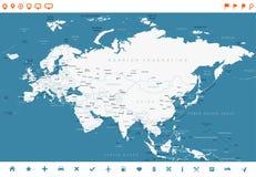 Карта России Китая Индии Индонезии Таиланда Европы Евразии - иллюстрация вектора Стоковые Изображения RF