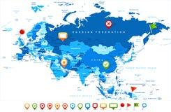 Карта России Китая Индии Индонезии Таиланда Европы Евразии - иллюстрация вектора Стоковое Изображение RF