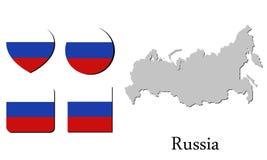 Карта Россия флага Стоковое Изображение