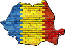 Карта Румынии на кирпичной стене Стоковое Фото
