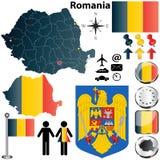 Карта Румыния Стоковое Изображение