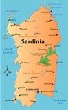 Карта Сардинии Стоковое Изображение RF