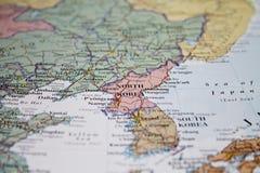 Карта Северной Кореи в фокусе Стоковые Фотографии RF