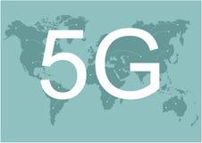 карта сетей связей земли сети 4g 5g глобальная соединений снабжения голубой карты мира глобальных Скорость беспроводной сети иллюстрация вектора