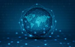 Карта сети связей земли сети глобальная вектора мира карты предпосылки карты мира netwo снабжения голубого синего глобального Стоковые Изображения RF