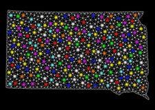 Карта сетки 2D государства Южной Дакоты с красочными светлыми пятнами бесплатная иллюстрация