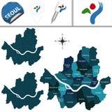 Карта Сеула с районами Стоковое Фото