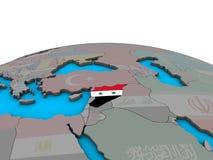 Карта Сирии с флагом на глобусе бесплатная иллюстрация