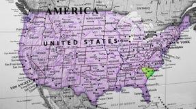 Карта Соединенных Штатов Америки выделяя положение Южной Каролины стоковые изображения rf