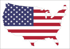 Карта Соединенных Штатов Америки с развевая флагом Стоковая Фотография