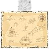 Карта сокровища на старом пергаменте вектор иллюстрация штока