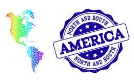 Карта спектра точки юга и Северной Америки и уплотнения печати Grunge иллюстрация вектора
