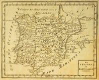 карта старая Португалия Испания стоковое изображение