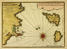 карта старый trapani levanzo favignana Стоковые Фото