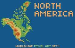 Карта стиля искусства пиксела Северной Америки, содержит Стоковые Фотографии RF
